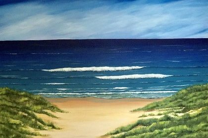(CreativeWork) Green path to blue waters! by Dinesha Costa. arcylic-painting. Shop online at Bluethumb.