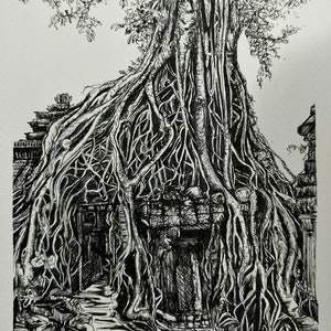 (CreativeWork) Temples & Tangles by Cathy Gilday. drawing. Shop online at Bluethumb.