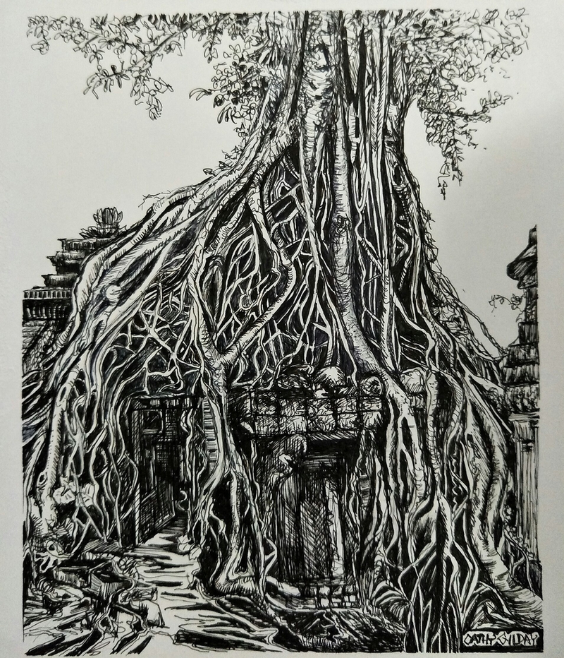 (CreativeWork) Temples & Tangles by Cathy Gilday. Drawings. Shop online at Bluethumb.