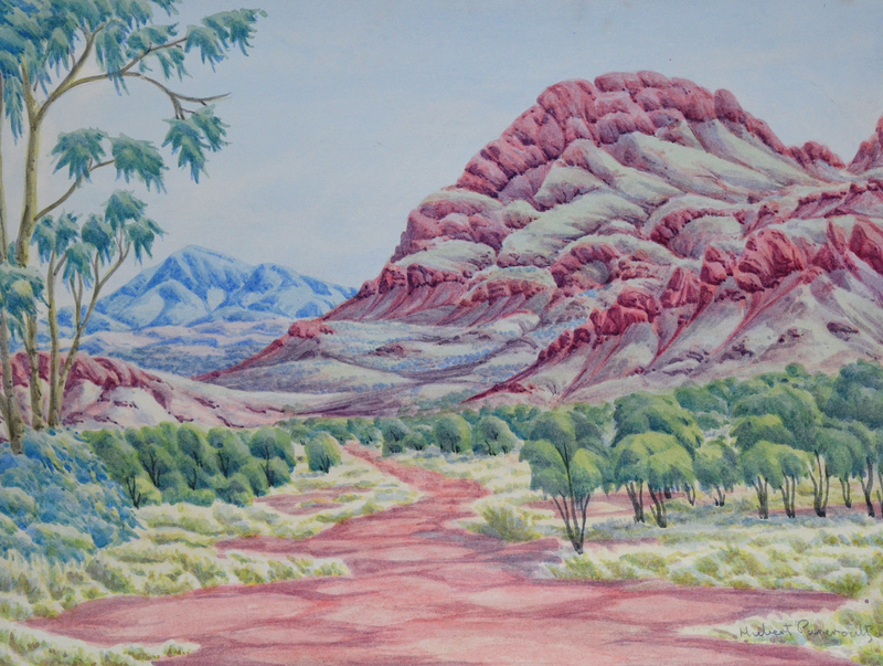 (CreativeWork) Tjuritja (West MacDonnell Ranges, NT) [161-17] by Hubert Pareroultja. Watercolour Paint. Shop online at Bluethumb.