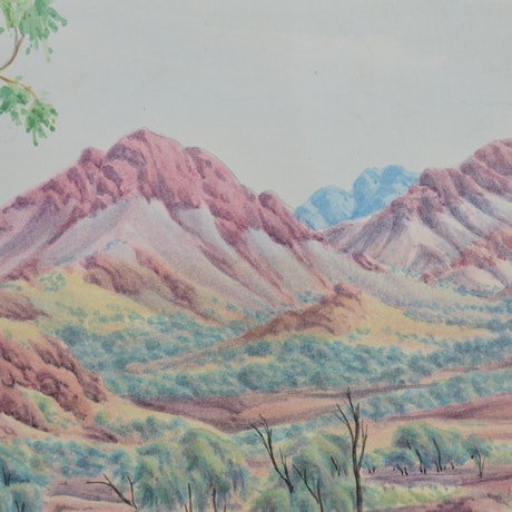 (CreativeWork) Tjuritja (West MacDonnell Ranges, NT) [345-16] by Hubert Pareroultja. Watercolour Paint. Shop online at Bluethumb.