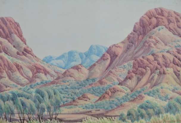 (CreativeWork) Near Areyonga, NT [344-16] by Hubert Pareroultja. Watercolour Paint. Shop online at Bluethumb.