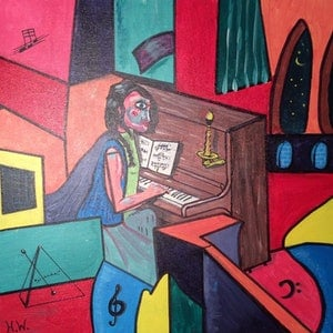 (CreativeWork) Lady at Piano by Hugh West. arcylic-painting. Shop online at Bluethumb.