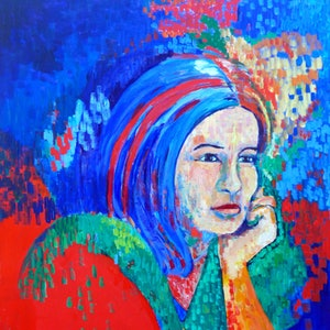 (CreativeWork) Portrait Of Taryn . Contemplation . by Virginia McGowan. arcylic-painting. Shop online at Bluethumb.