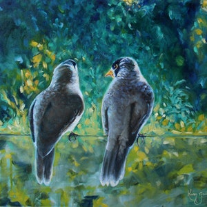 (CreativeWork) Sitting on the Fence by Karen Goddard. oil-painting. Shop online at Bluethumb.
