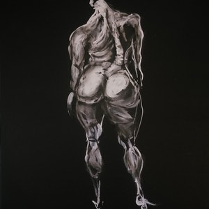 (CreativeWork) Figure in Black by Yehoshua Viles. acrylic-painting. Shop online at Bluethumb.