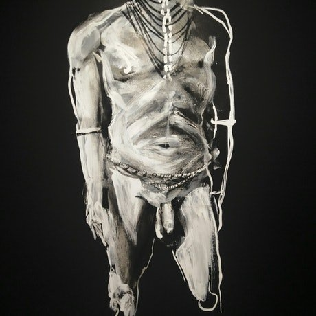 (CreativeWork) Male Torso in Black by Yehoshua Viles. Acrylic Paint. Shop online at Bluethumb.