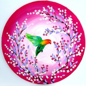 (CreativeWork) Lovebird  Gift by Cathy Jacobs. arcylic-painting. Shop online at Bluethumb.