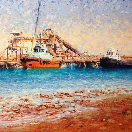 (CreativeWork) Workers of Weipa  by Louise Price. Oil Paint. Shop online at Bluethumb.