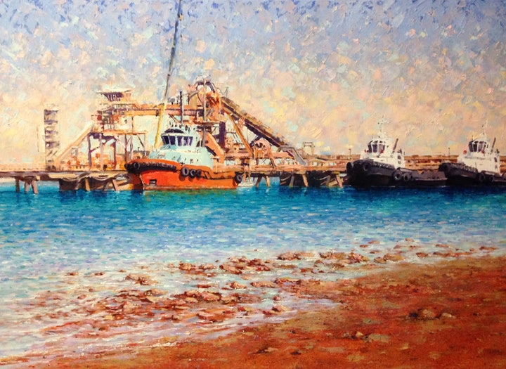 (CreativeWork) Workers of Weipa  by Louise Price. oil-painting. Shop online at Bluethumb.