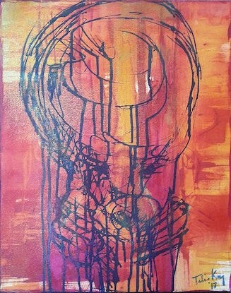 (CreativeWork)  P DRINKING HIS JUICE by Talia King. Acrylic Paint. Shop online at Bluethumb.