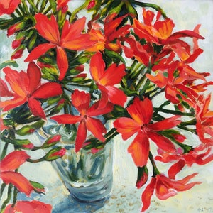 (CreativeWork) Jean's Geraniums by Greta Laundy. arcylic-painting. Shop online at Bluethumb.