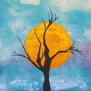 (CreativeWork) Halloween Sun by Tyanna Wavenie Kavanagh. arcylic-painting. Shop online at Bluethumb.