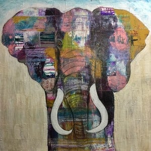 (CreativeWork) Remembering Dzombo by NICHOLLE JOFFE. mixed-media. Shop online at Bluethumb.