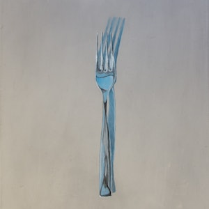 (CreativeWork) Fork on Metal Bench by Rob Kennedy. oil-painting. Shop online at Bluethumb.