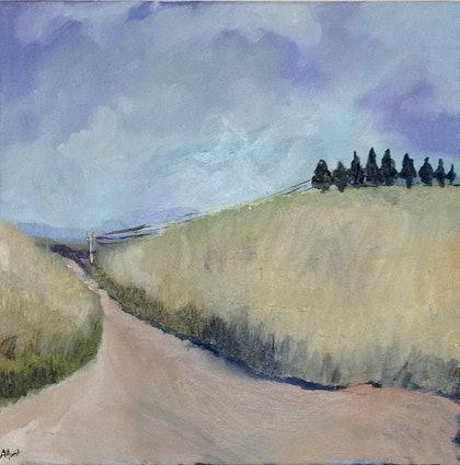 (CreativeWork) Countryside by Amanda Hunt. oil-painting. Shop online at Bluethumb.