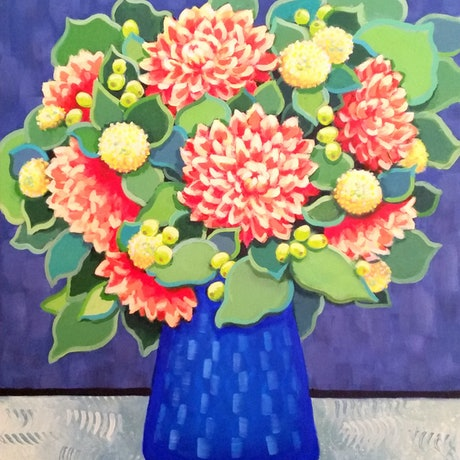 (CreativeWork) Orange Dahlias in Blue Vase - STILL LIFE by Olga Kolesnik. Acrylic Paint. Shop online at Bluethumb.