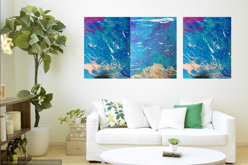 (CreativeWork) Enigmatic Ocean (3 original canvas panels as a triptych ) acrylic paint, sealed and glazed by Margaret Morgan (Watkins). arcylic-painting. Shop online at Bluethumb.