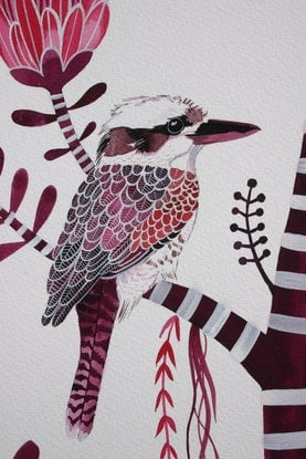 (CreativeWork) Magenta Birds and Proteas by Sally Browne. #<Filter:0x00007fab152495d8>. Shop online at Bluethumb.