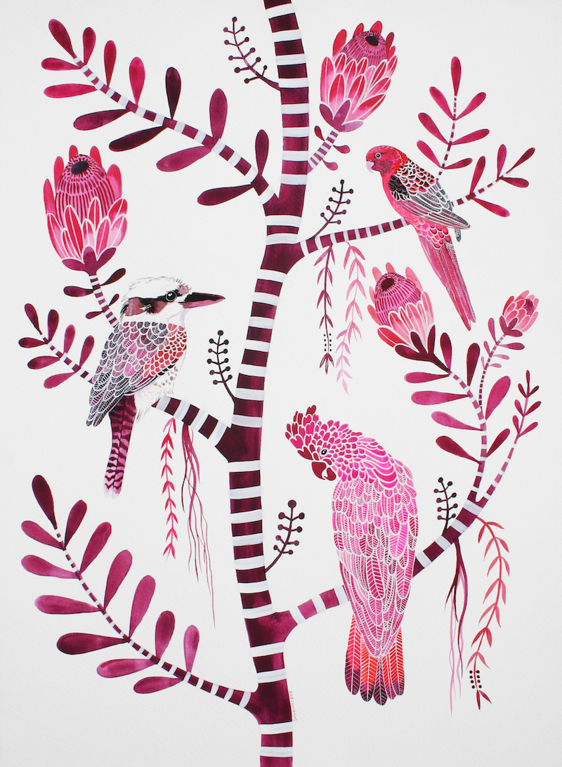 (CreativeWork) Magenta Birds and Proteas by Sally Browne. other-media. Shop online at Bluethumb.