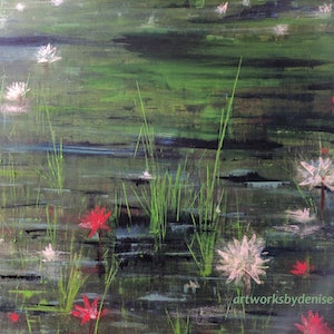 (CreativeWork) WATERLILIES by Denise Anzellotti. oil-painting. Shop online at Bluethumb.
