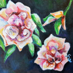 (CreativeWork) Original Acrylic Pink Roses Painting for Sale by Winnie Fu. arcylic-painting. Shop online at Bluethumb.