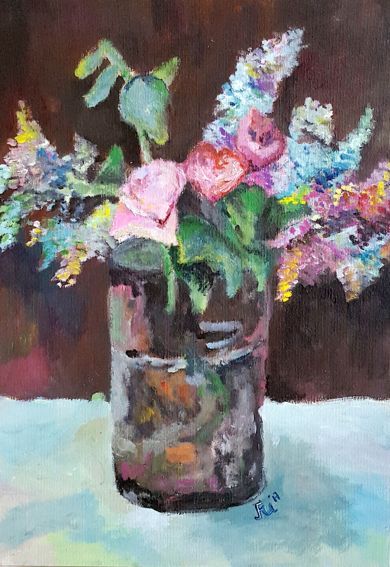(CreativeWork) Original Acrylic Colourful Lilac/Roses/Flowers Painting for Sale. Still life/Impressionism by Winnie Fu. arcylic-painting. Shop online at Bluethumb.