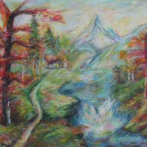 (CreativeWork) Original Oil Pastel Painting For Sale. Impressionist painting. Landscape/Creek painting by Winnie Fu. drawing. Shop online at Bluethumb.