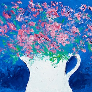 (CreativeWork) Pink Flowers in a jug - Framed by Jan Matson. oil-painting. Shop online at Bluethumb.