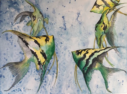 (CreativeWork) What's on the Agenda? by Gaye C Boltong. watercolour. Shop online at Bluethumb.