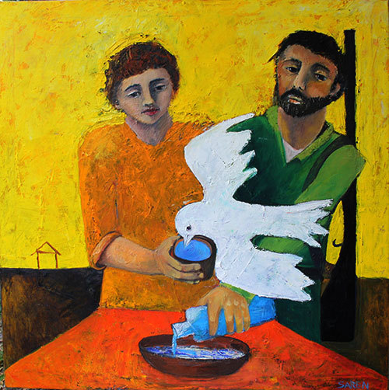 (CreativeWork) The Thirsty Dove by Saren Dobkins. Oil Paint. Shop online at Bluethumb.
