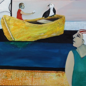 (CreativeWork) Waiting for Seamail by Saren Dobkins. oil-painting. Shop online at Bluethumb.