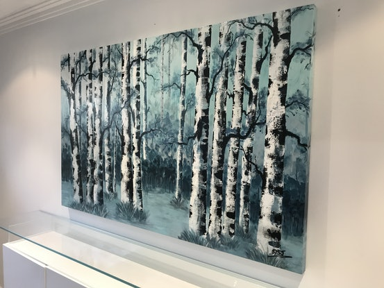 (CreativeWork) Birch Stand by Tom Roso. Acrylic Paint. Shop online at Bluethumb.