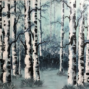 (CreativeWork) Birch Stand by Tom Roso. arcylic-painting. Shop online at Bluethumb.