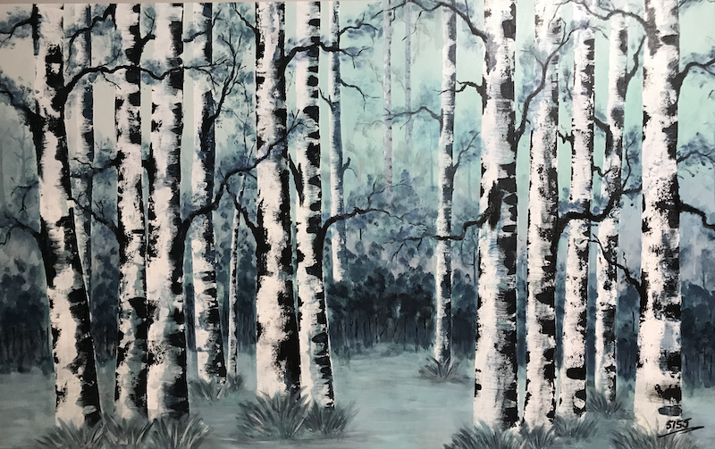 (CreativeWork) Birch Stand by Tom Roso. acrylic-painting. Shop online at Bluethumb.