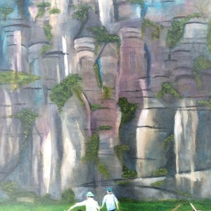 (CreativeWork) Tam Coc - Vietnam by Kathy Best. arcylic-painting. Shop online at Bluethumb.