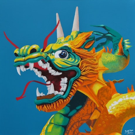(CreativeWork) Le dragon se réveille (The Dragon Awakens) by BRETT ROSE. Acrylic Paint. Shop online at Bluethumb.