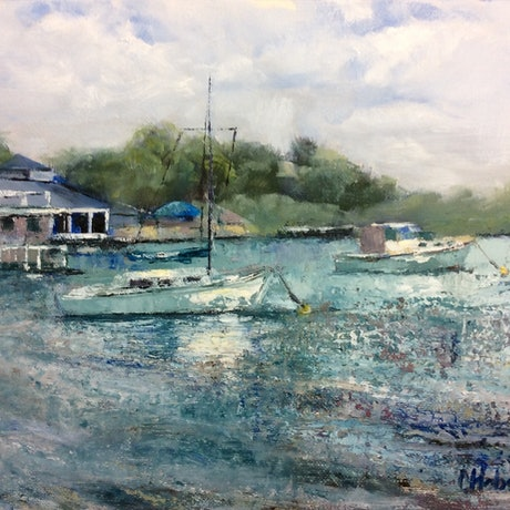 (CreativeWork) Noosa Marina Plein Air Painting by Chris Hobel. Oil Paint. Shop online at Bluethumb.