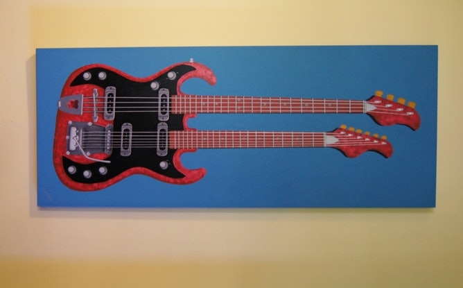 (CreativeWork) The Double Necked Guitar by BRETT ROSE. Acrylic Paint. Shop online at Bluethumb.