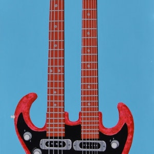 (CreativeWork) The Double Necked Guitar by BRETT ROSE. arcylic-painting. Shop online at Bluethumb.