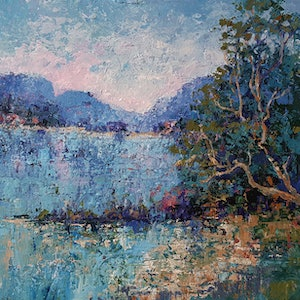 (CreativeWork) Blush Bay by Helen Miles. arcylic-painting. Shop online at Bluethumb.