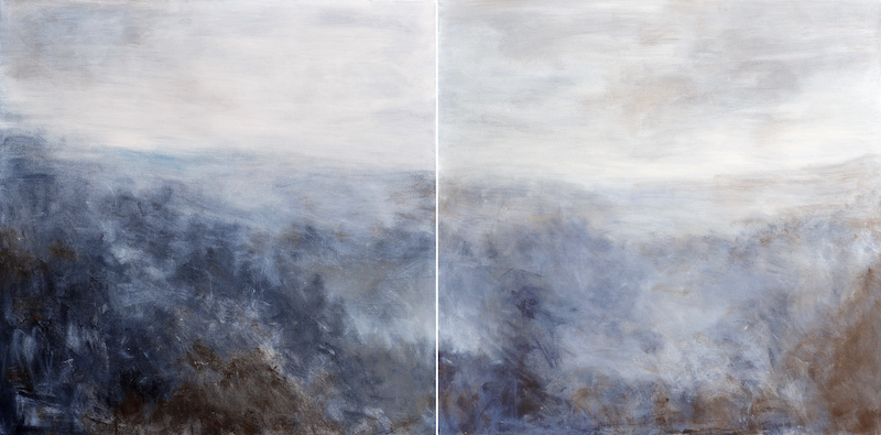 (CreativeWork) Grey Morning. Diptych by Susan Ruming. acrylic-painting. Shop online at Bluethumb.