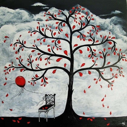 (CreativeWork) Red Balloon #4 by Sally Ford. arcylic-painting. Shop online at Bluethumb.