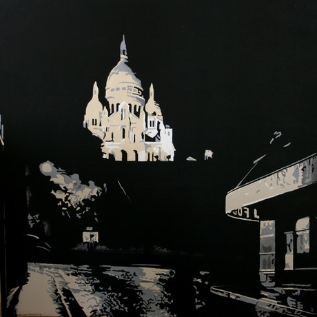 (CreativeWork) Light on Sacre Coeur Montmartre by Howard Moffatt. Acrylic Paint. Shop online at Bluethumb.