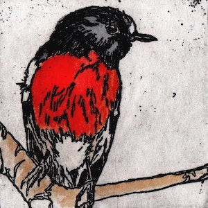 (CreativeWork) Scarlet Robin by Lydie Paton. mixed-media. Shop online at Bluethumb.