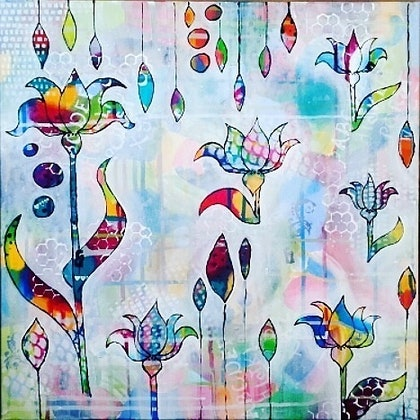 """(CreativeWork) """"Lilly's"""" by Jillian Rapley. arcylic-painting. Shop online at Bluethumb."""