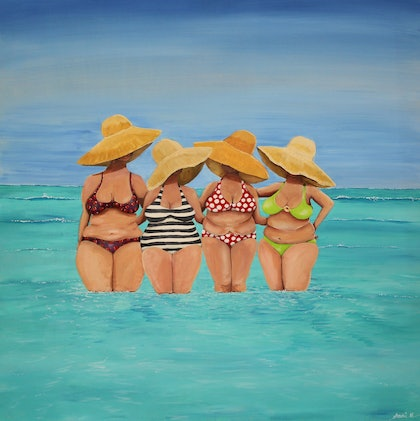 (CreativeWork) Red polka dot bikini by Andrea Berry. arcylic-painting. Shop online at Bluethumb.