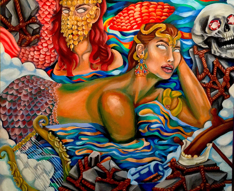 (CreativeWork) Sirens. Oil on canvas, 2017. by Melissa Gilbert. oil-painting. Shop online at Bluethumb.