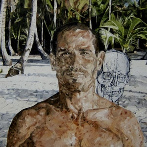 (CreativeWork) Figure in Panama #1 by Julius Killerby. oil-painting. Shop online at Bluethumb.