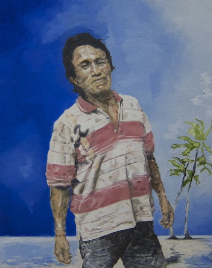 (CreativeWork) Figure in Panama #2 by Julius Killerby. oil-painting. Shop online at Bluethumb.